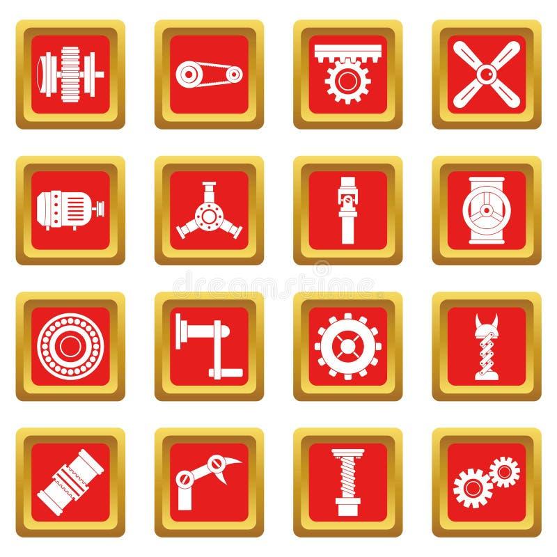 Symboler för Techno mekanismsats ställde in rött stock illustrationer