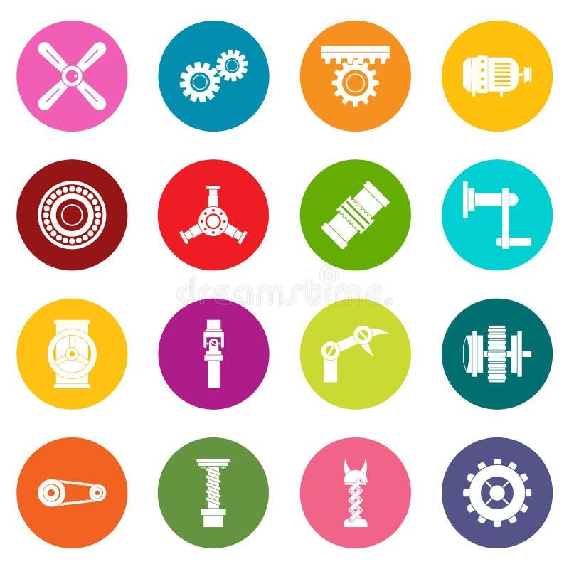 Symboler för Techno mekanismsats uppsättning för många färger stock illustrationer