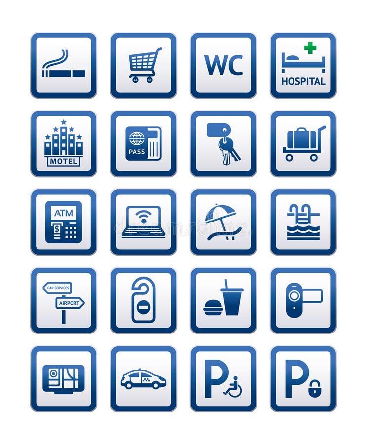 symboler för tecken för hotellmotell service inställda stock illustrationer