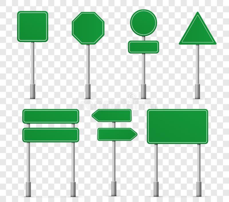 Symboler för tecken för vägbrädehuvudväg Pekare för information om vektorgataskylt eller vägmärkemodeller, gatariktningsmallar royaltyfri illustrationer