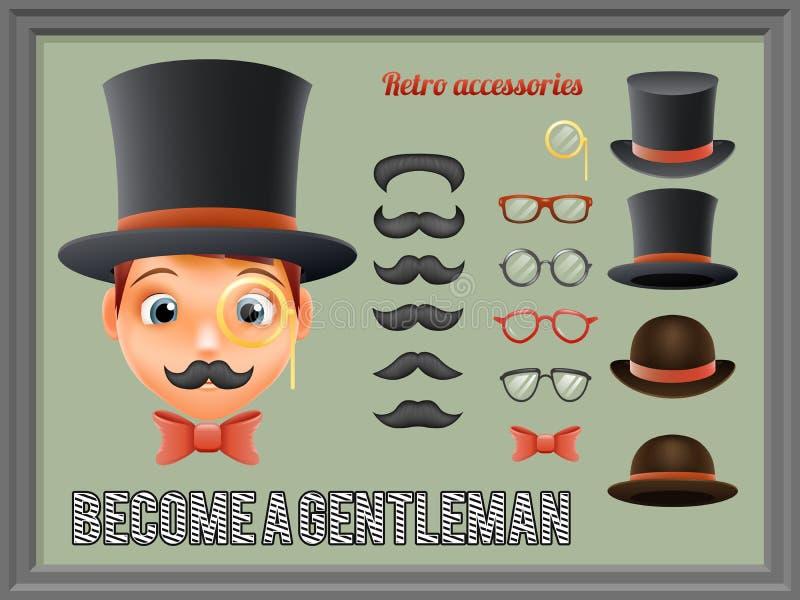 Symboler in för tecknad film för affär för gentleman för bästa hatt för mustaschpilbågeexponeringsglas ställde viktorianska Retro stock illustrationer