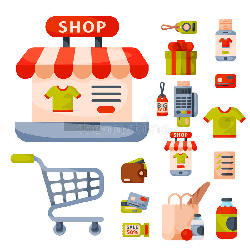 Symboler in för tecknad film för supermarketlivsmedelsbutikshopping ställde retro med isolerade produkter för mat och för komrets royaltyfri illustrationer