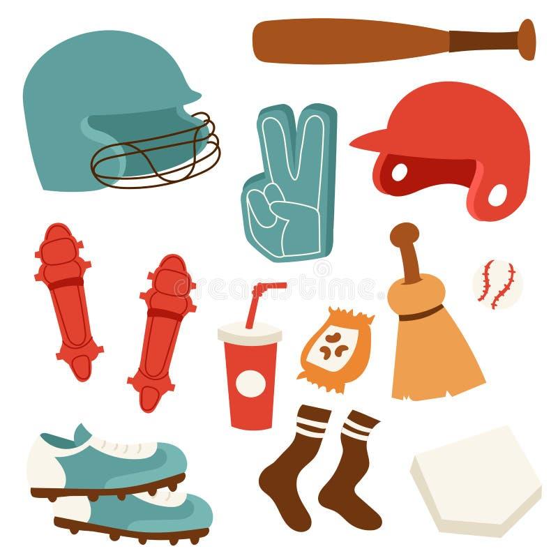 Symboler för tecknad film för lek för softball för symbol för lag för lek för baseballsportkonkurrens planlägger den sportsliga u royaltyfri illustrationer