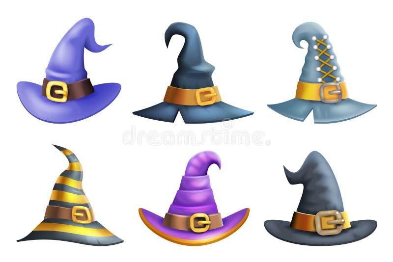 Symboler för tecknad film för parti 3d för maskerad för unge för dräkt för häxahatthalloween barn ställde in vektorillustrationen stock illustrationer