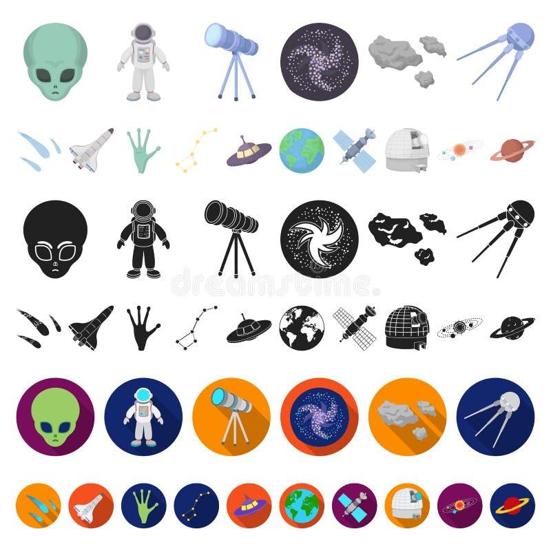 Symboler för tecknad film för utrymmeteknologi i uppsättningsamlingen för design Rengöringsduk för materiel för rymdskepp- och ut stock illustrationer