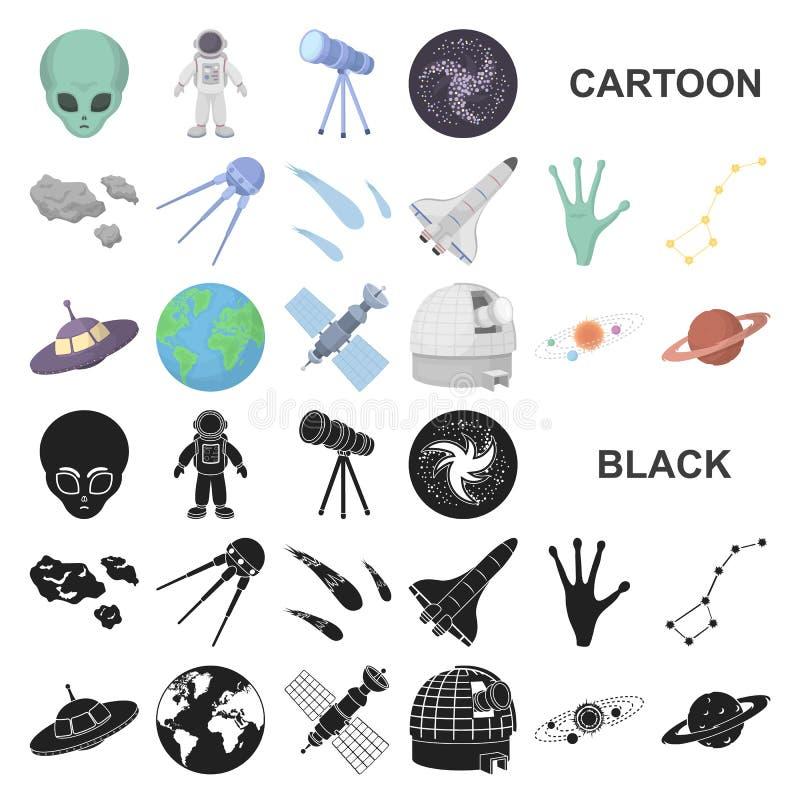 Symboler för tecknad film för utrymmeteknologi i uppsättningsamlingen för design Rengöringsduk för materiel för rymdskepp- och ut vektor illustrationer