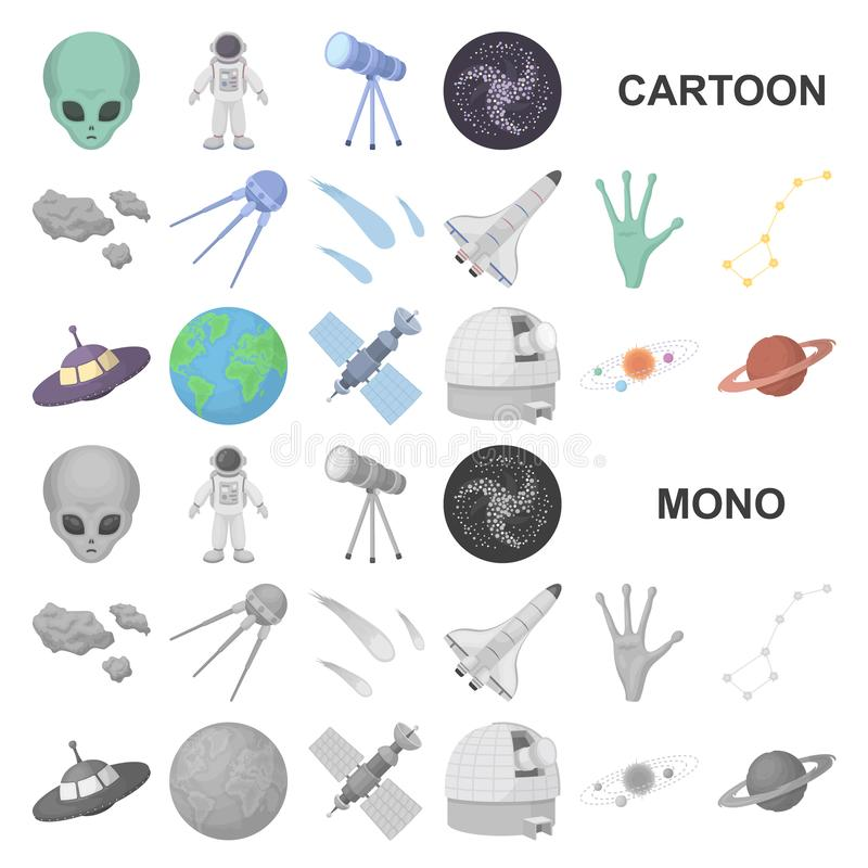 Symboler för tecknad film för utrymmeteknologi i uppsättningsamlingen för design Rengöringsduk för materiel för rymdskepp- och ut royaltyfri illustrationer