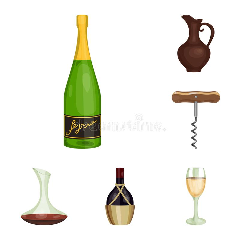 Symboler för tecknad film för vinprodukter i uppsättningsamlingen för design Utrustning och produktion av vinvektorsymbolet lager stock illustrationer