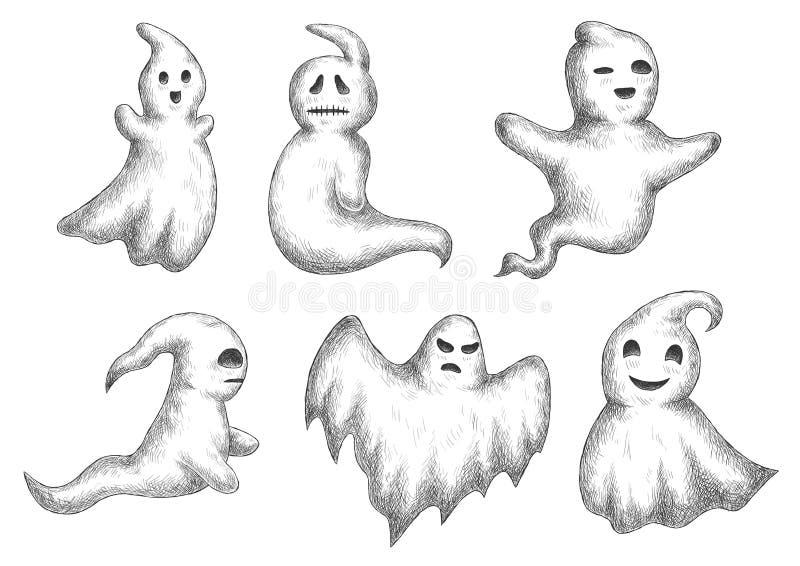 Symboler för tecknad filmhalloween roliga ghots stock illustrationer