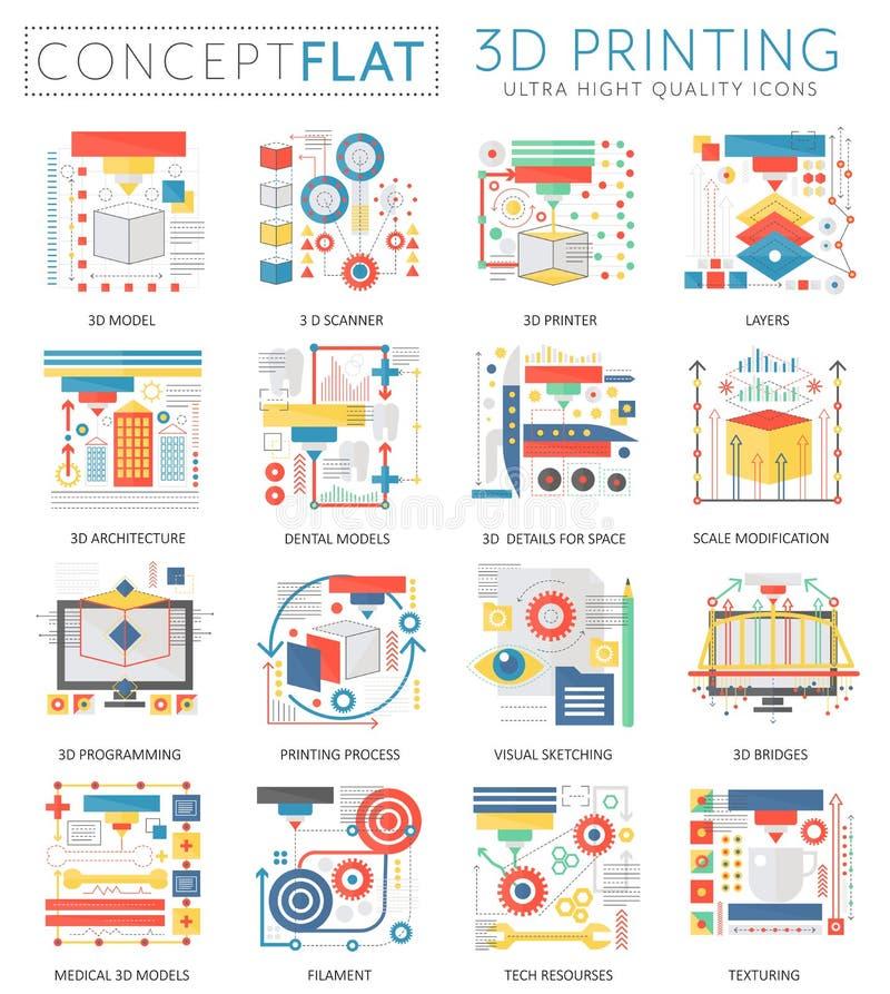 Symboler för teknologi för printing för Infographics mini- begrepp 3d för rengöringsduk Begreppsmässig plan designrengöringsduk f stock illustrationer