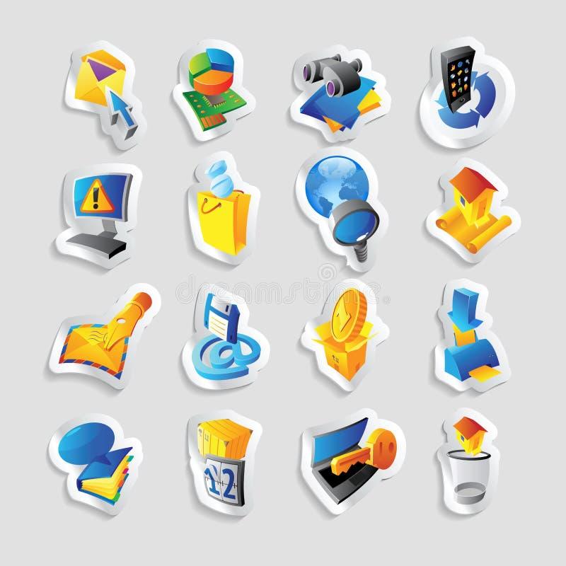 Symboler för teknologi och manöverenhet stock illustrationer