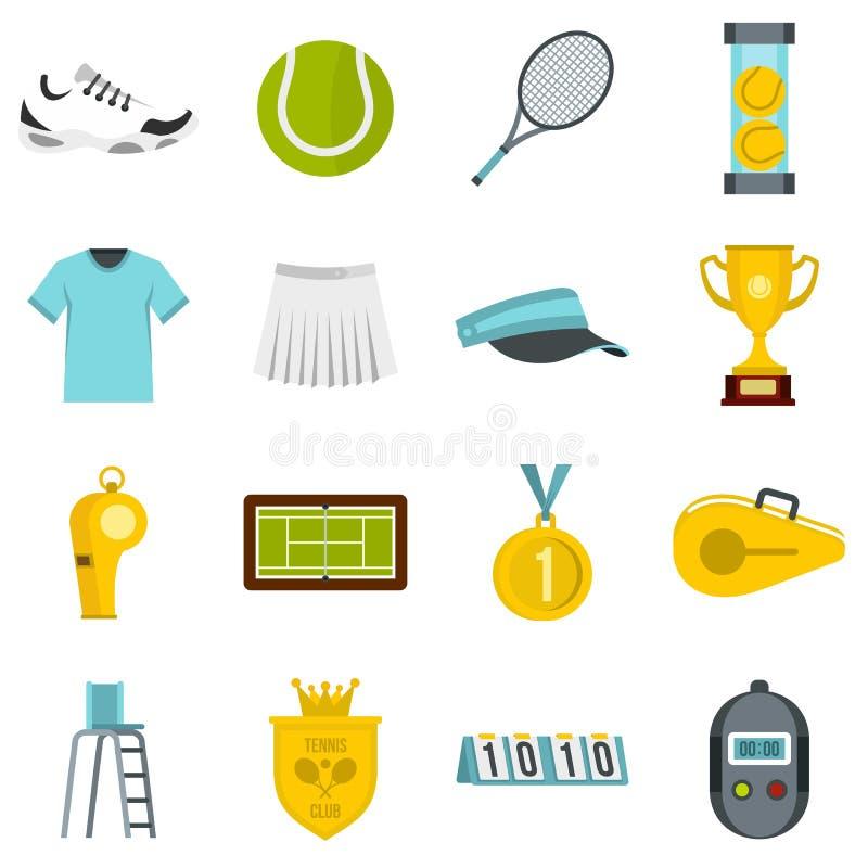 Symboler för tennisuppsättninglägenhet vektor illustrationer