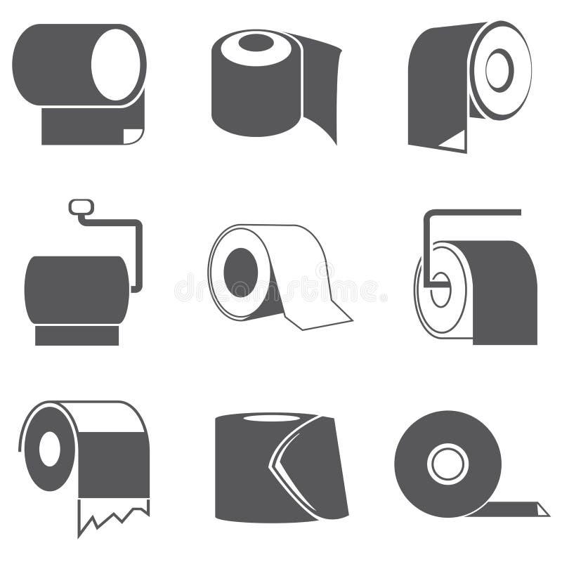 Symboler för toalettpapper royaltyfri illustrationer