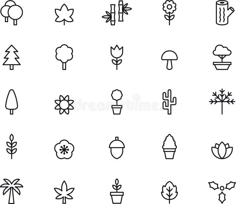 Symboler för träd och växter stock illustrationer