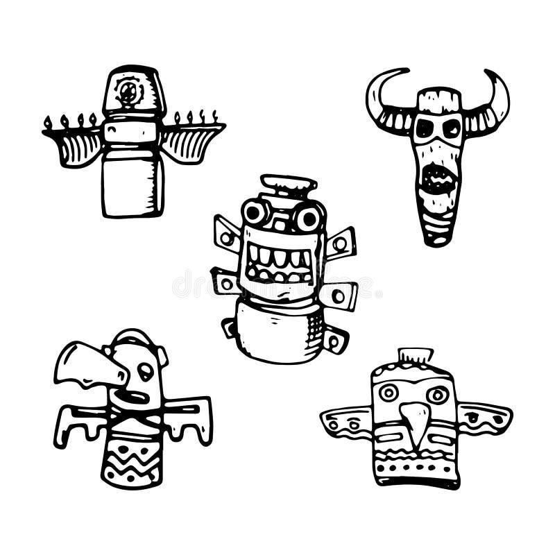 Symboler in för traditionell religiös totem för tecknad film ställde svarta stam- symbol för plan kultur för stildesignbeståndsde royaltyfri illustrationer