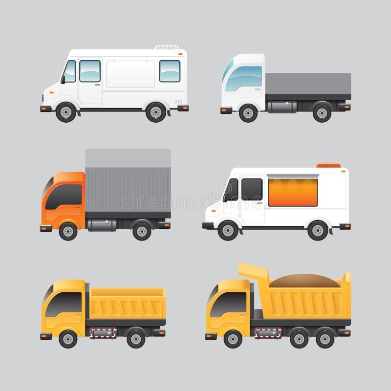 Symboler för transport för skåpbil för lastbil för vektorskåpbildesign ställde in vektor illustrationer