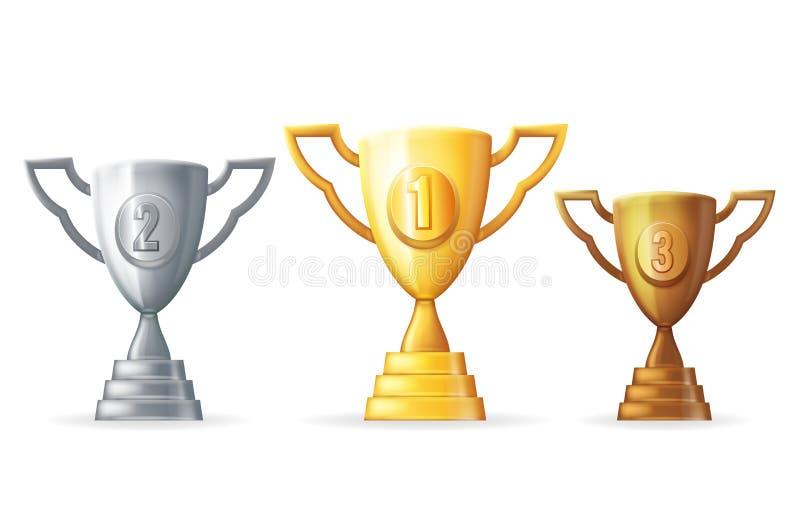 Symboler för trofén 3d för det guld- för silverkopparsegern för utmärkelsen priset för koppen planlägger isolerade realistiska ve royaltyfri illustrationer