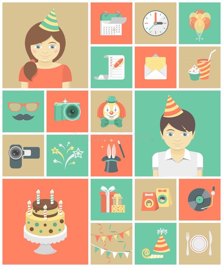 Symboler för ungefödelsedagparti royaltyfri illustrationer