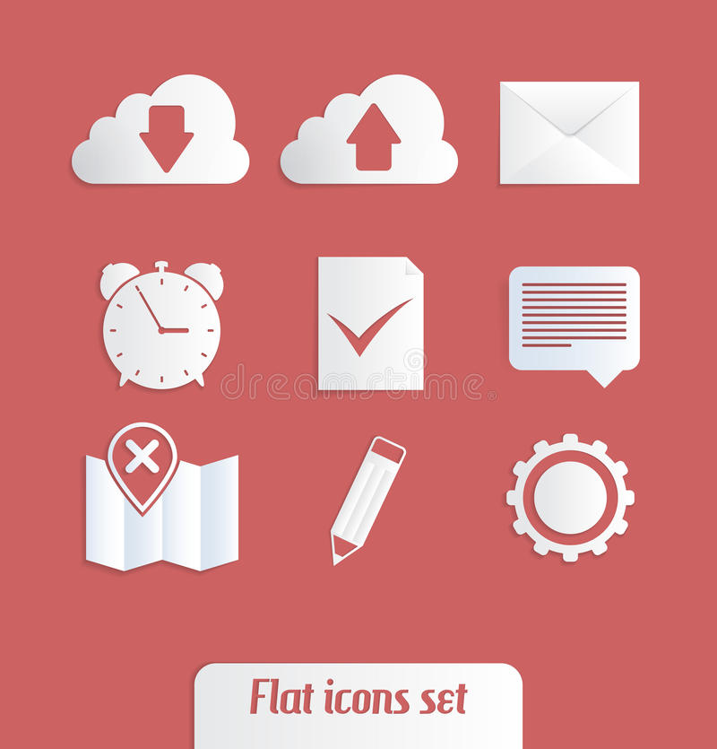 Symboler för universell lägenhet royaltyfri illustrationer