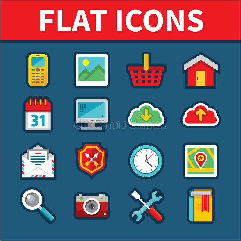 Symboler för universell lägenhet för rengöringsduk- och mobilapplikationer stock illustrationer