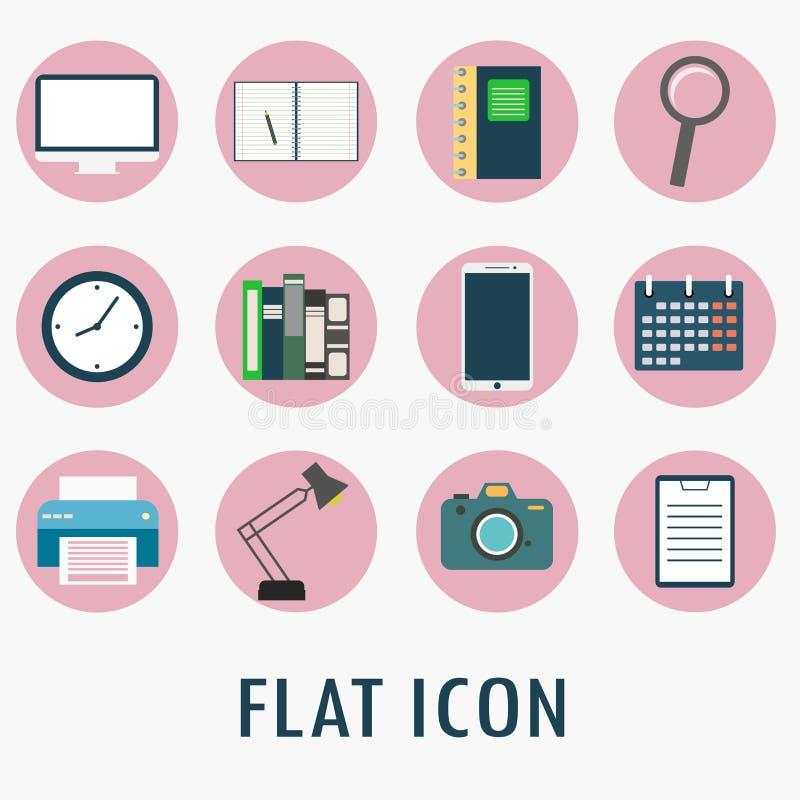 Symboler för universell lägenhet för rengöringsduk och mobilapplikationuppsättning royaltyfri illustrationer