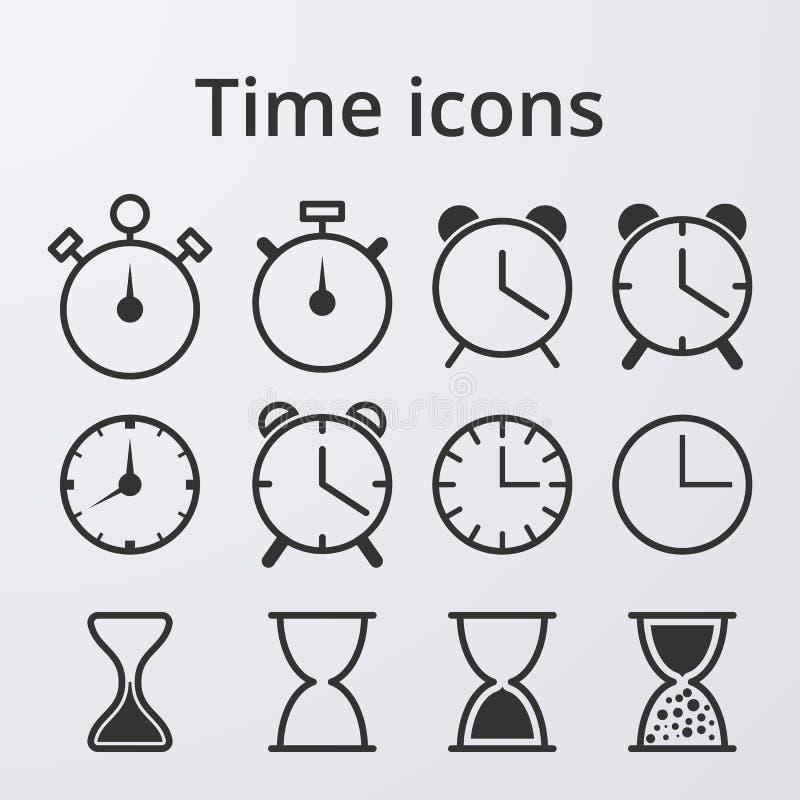 Symboler för uppsättning för materielvektorklocka royaltyfri illustrationer