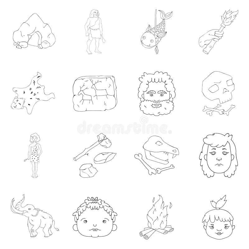 Symboler för uppsättning för stenålder i översiktsstil Stor samling av symbolet för vektor för stenålder royaltyfri illustrationer