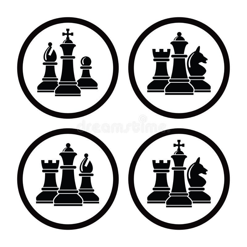 Symboler för uppsättningen för vektorschackstycket för logo planlägger vektor illustrationer