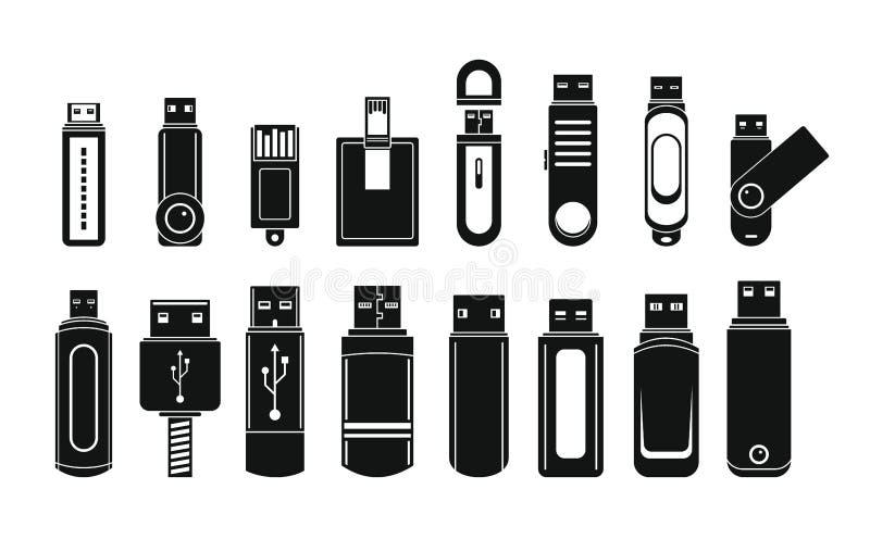 Symboler för USB exponeringsdrev ställde in, enkel stil vektor illustrationer