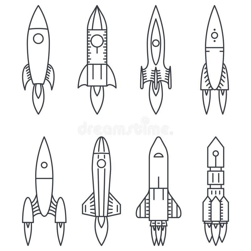 Symboler för utrymmeraket startar upp och lanserar det nya symbolet royaltyfri illustrationer