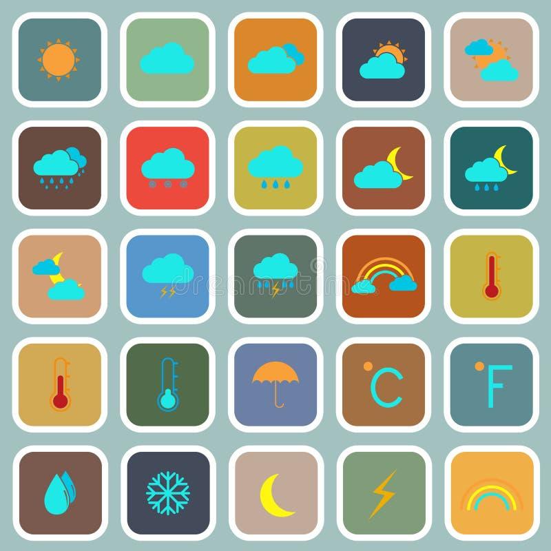 Symboler för väderlägenhetfärg på blå bakgrund royaltyfri illustrationer