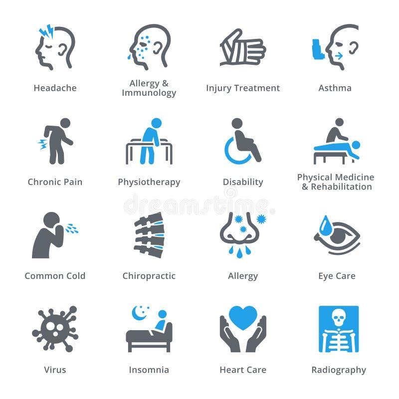 Symboler för vård- villkor & sjukdom royaltyfri illustrationer