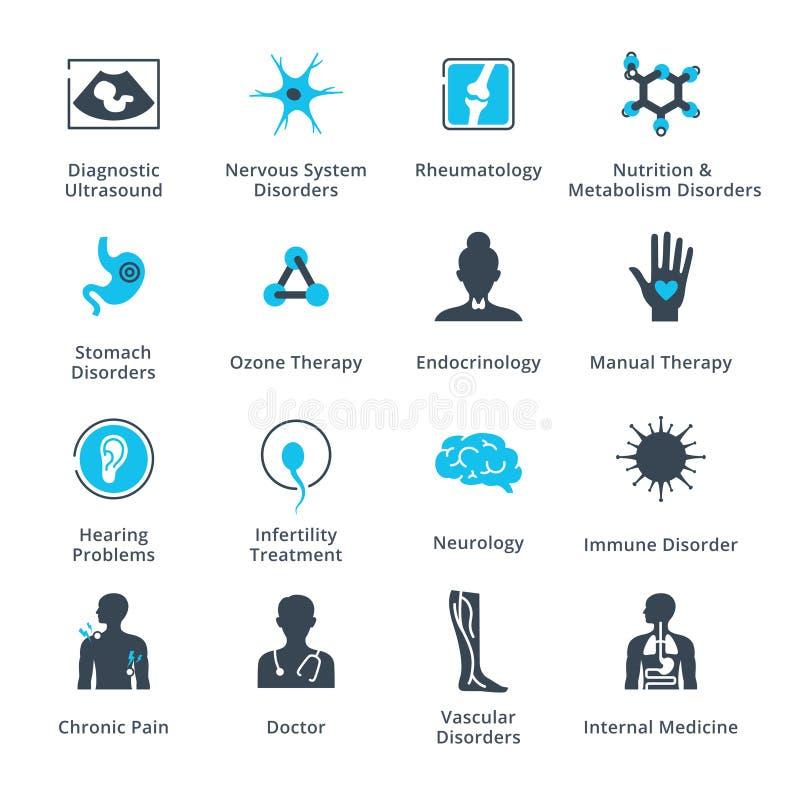 Symboler för vård- villkor & sjukdom stock illustrationer