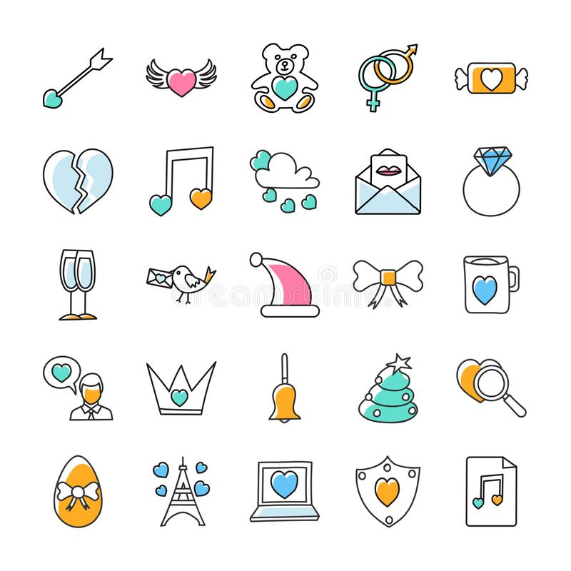 Symboler för valentindagklotter packar stock illustrationer