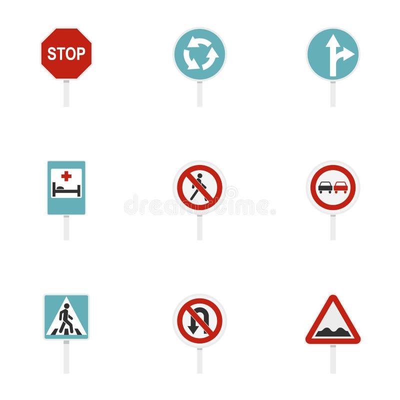 Symboler för varningstrafiktecken ställde in, plan stil stock illustrationer