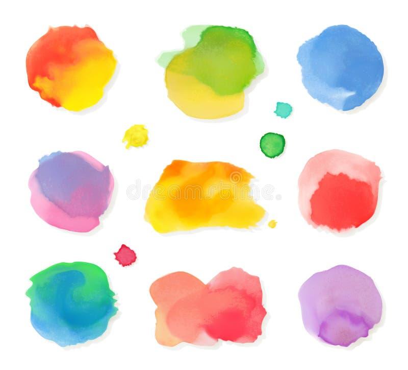 Symboler för vattenfärgmålningvektor vektor illustrationer
