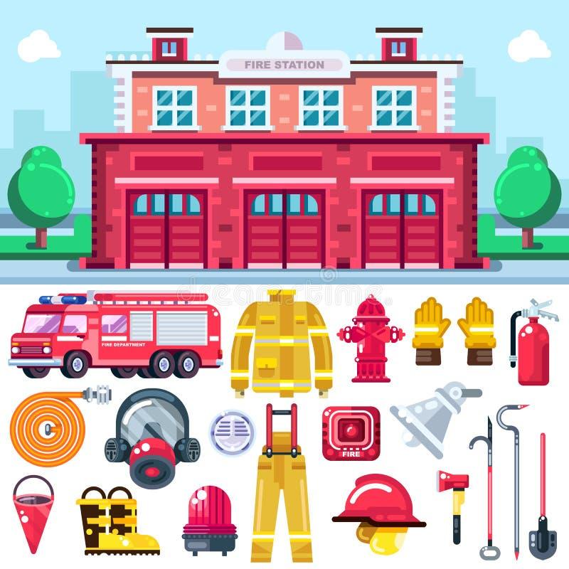 Symboler för vektor för brandbekämpningutrustning Illustration för stadsbrandstation Eldsläckare larmsystem, firemans likformig,  royaltyfri illustrationer