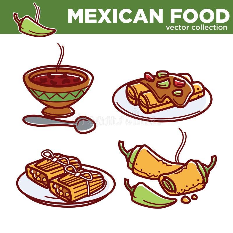 Symboler för vektor för disk för mexicansk matkokkonst traditionella för restaurangmeny vektor illustrationer