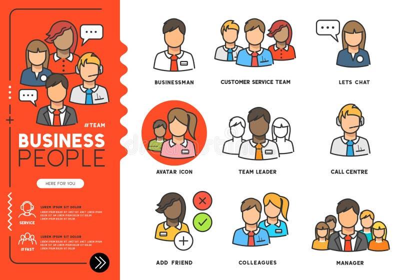Symboler för vektor för affärsfolk royaltyfri illustrationer
