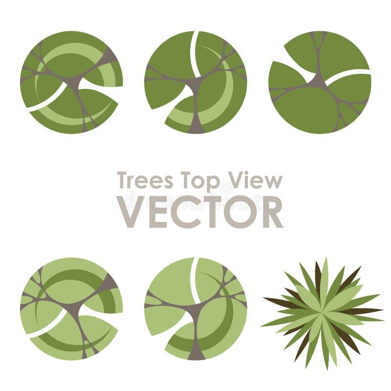 Symboler för vektor för bästa sikt för träd royaltyfri illustrationer