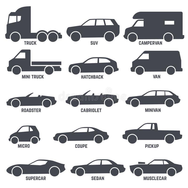 Symboler för vektor för bilbiltyper som svarta isoleras på vit vektor illustrationer
