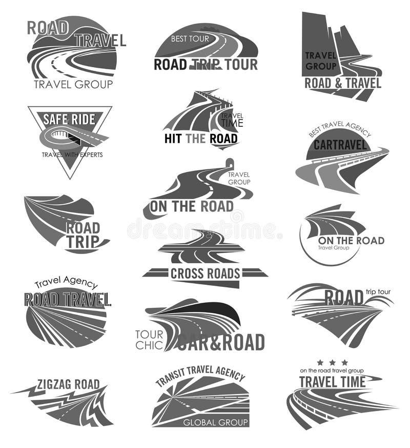 Symboler för vektor för för vägloppföretag eller byrå ställde in stock illustrationer