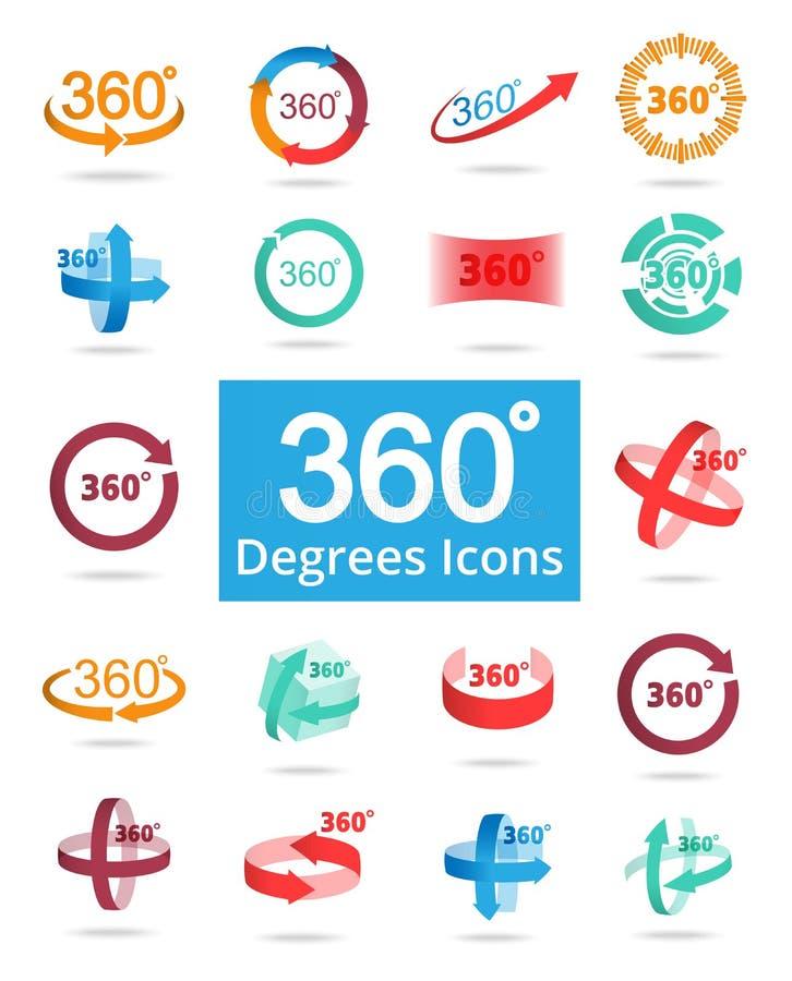 Symboler för vektor för 360 grad sikt släkta royaltyfri illustrationer