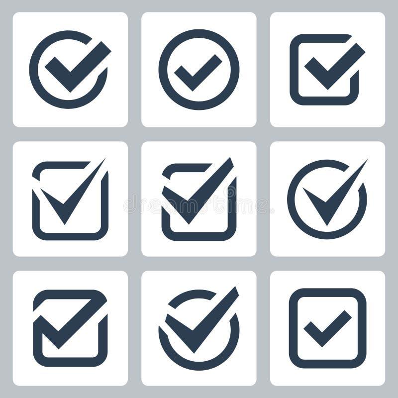 Symboler för vektor för kontrollask stock illustrationer