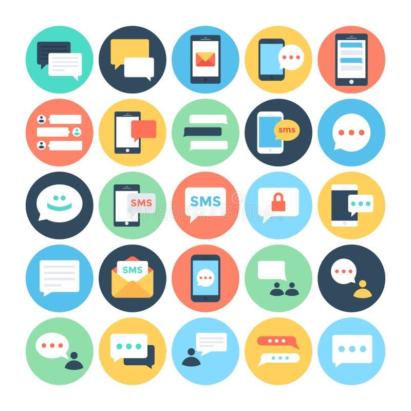 Symboler 1 för vektor för lägenhet för textMessaging stock illustrationer