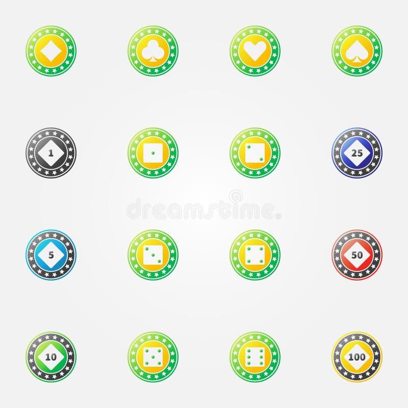 Symboler för vektor för pokerchiper ljusa vektor illustrationer