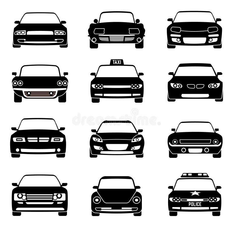 Symboler för vektor för sikt för bilar framme svarta stock illustrationer