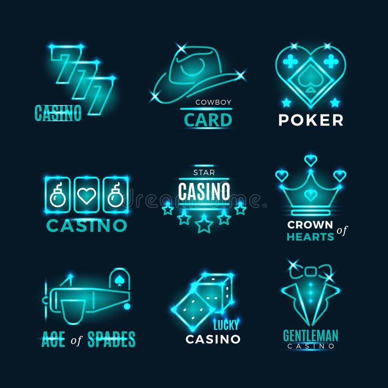 Symboler för vektor för turnering och för kasino för tappningneonpoker vektor illustrationer