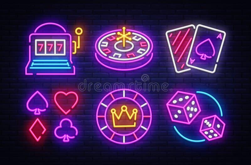 Symboler för vektor för kasinoneonsamling Kasinoemblem och etiketter, ljust neontecken, enarmad bandit, roulett, poker, tärning vektor illustrationer
