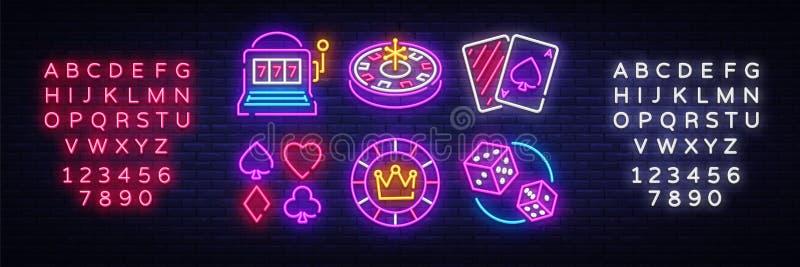 Symboler för vektor för kasinoneonsamling Kasinoemblem och etiketter, ljust neontecken, enarmad bandit, roulett, poker, tärning stock illustrationer
